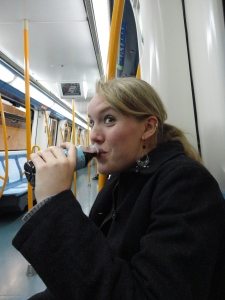 My friend  on the Metro with a drink...gasp!